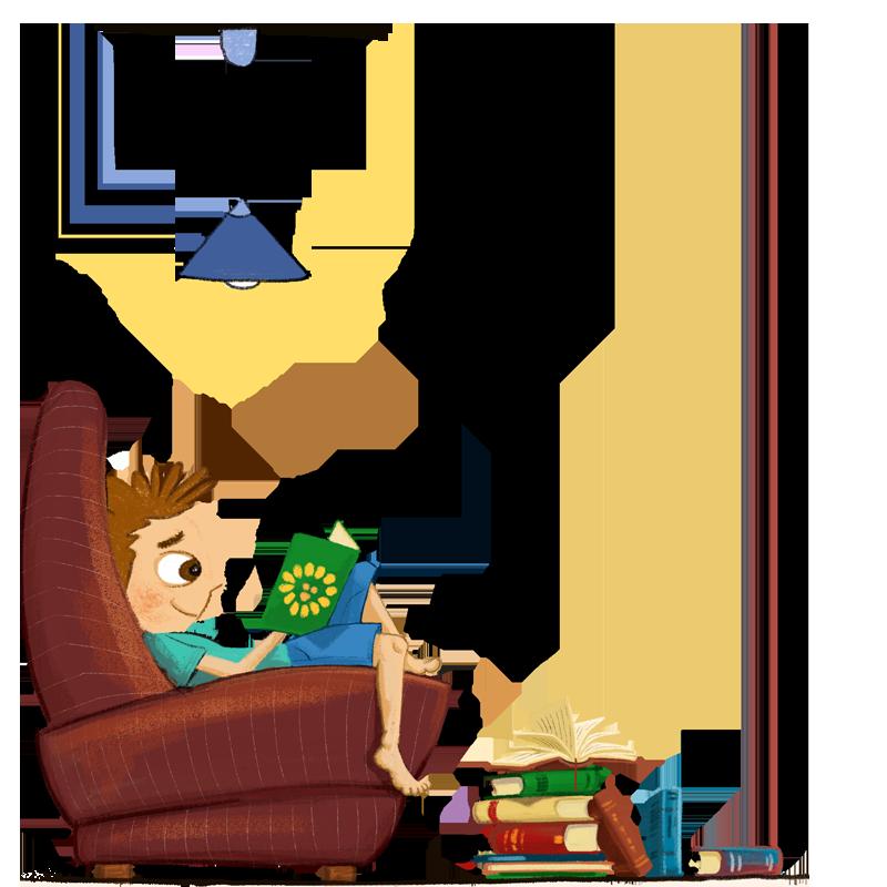 Junge im Büchersessel