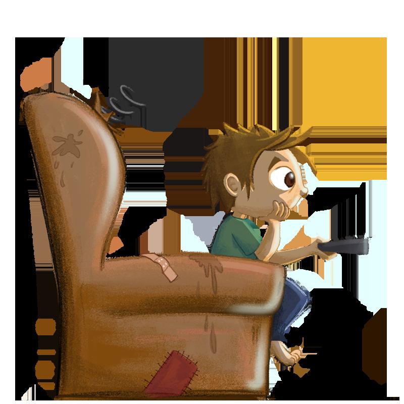 Kind auf Fernsehsessel